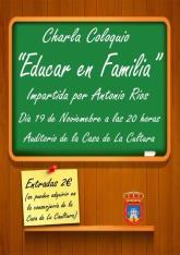 El psic�logo Antonio R�os ofrecer� una conferencia sobre educar en familia
