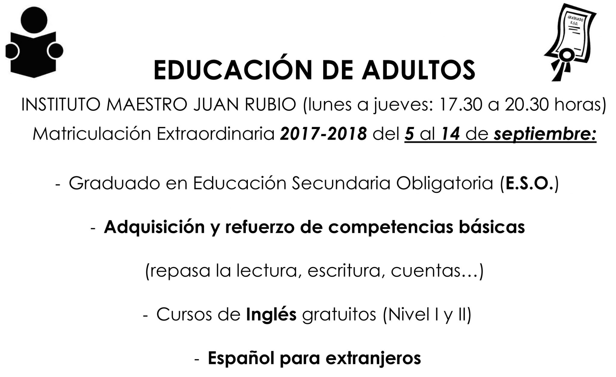 Matriculación En La Escuela De Adultos
