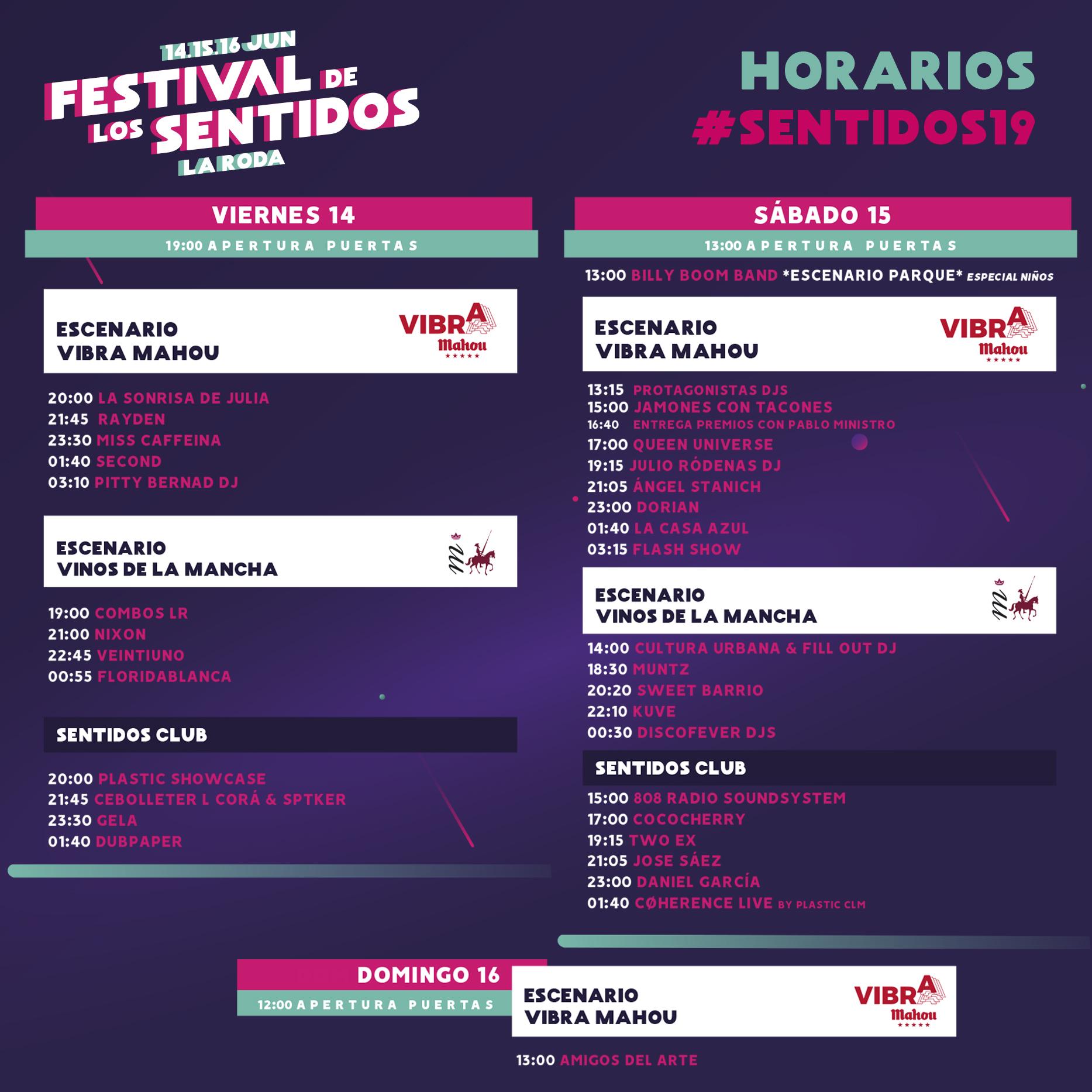 Horarios De #Sentidos19