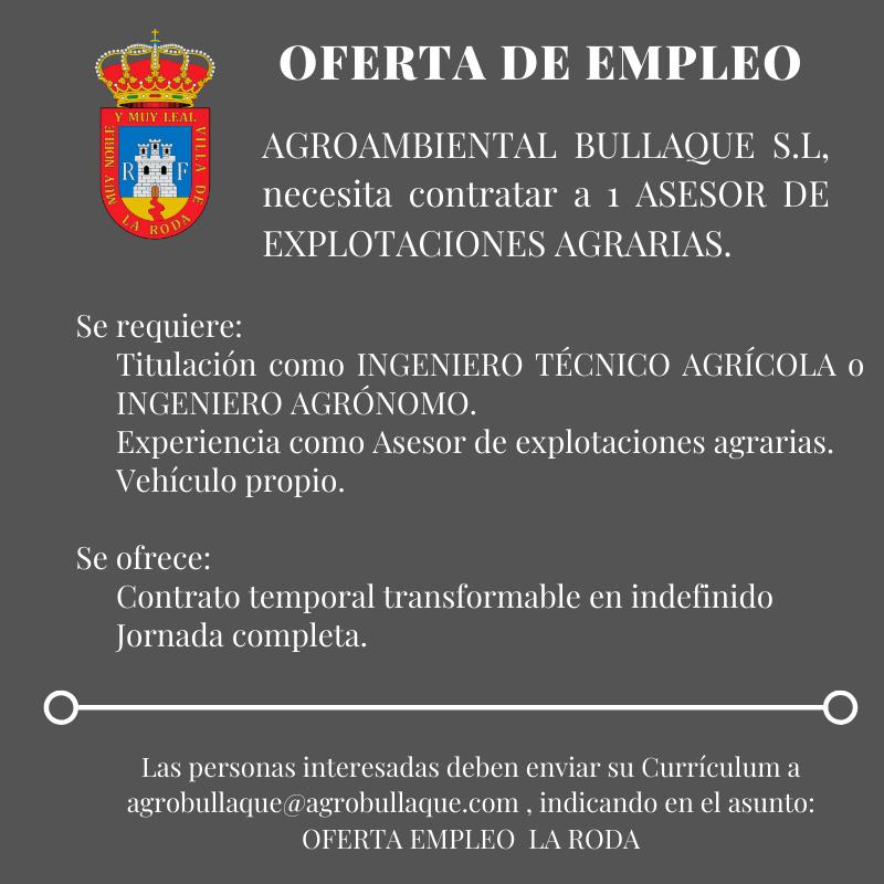 Oferta De Empleo: Asesor De Explotaciones Agrarias