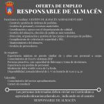 Oferta De Empleo: Responsable De Almacén